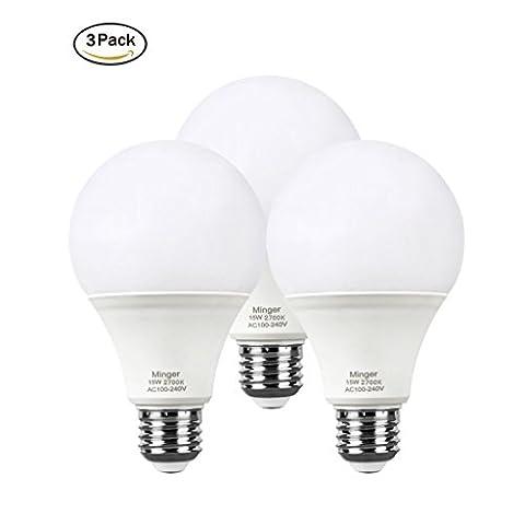 MINGER 15W LED Lights Bulb,Standard Screw E27 A19 Bulbs-100W Equivalent Soft White(2700K) Daylight Lamp,3-Pack