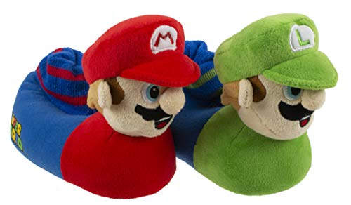 Super Mario Brothers Mario and Luigi Slippers for Kids, Nintendo,Little Kid/Big Kid Sizes 11 to 5