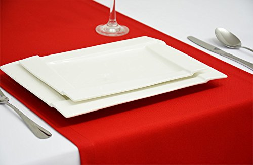 Rollmayer elegant Table Runner in Red 1216x56in (40x140cm) EASY-CARE Table Mats for Wedding Party / Home and Table Decoration