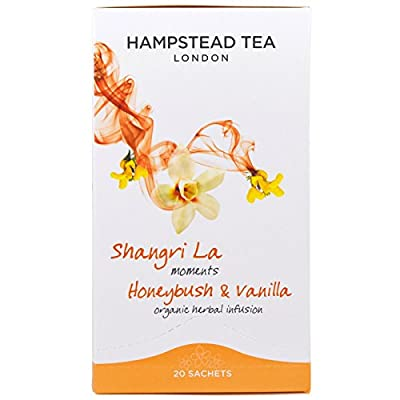 Hampstead Tea London Shangri La Moments Honeybush & Vanilla Infusion de plantes biologiques/infusion de plantes Honeybush & Vanilla - 4 x 20 sachets (100 grammes)