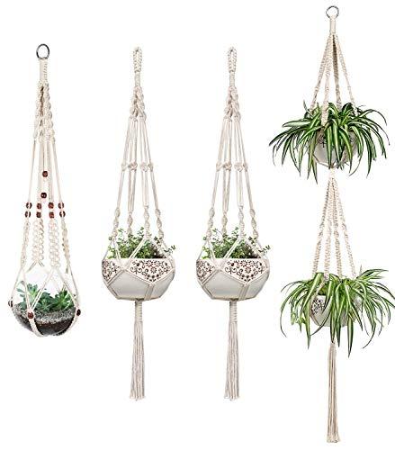 4er Set Makramee Blumenampel Baumwollseil Hängeampel Blumentopf Pflanzen Halter Aufhänger für Innen Außen Decken Balkone Wanddekoration - Makramee-pot-kleiderbügel
