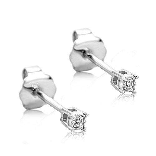 Orovi orecchini donna a lobo solitario con diamanti taglio brillante ct 0.02 in oro bianco 9 kt 375