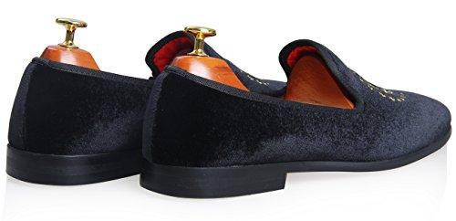 Samt Driving Elanroman Schwarz Slip Stickerei Sliper on Schuhe Herren Loafer Vintage Casual rOPPcw4AW0