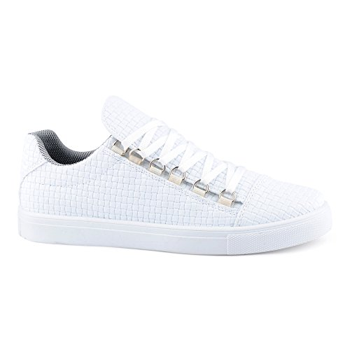 FiveSix Herren Sneaker Sportschuhe Schnürschuhe Muster Freizeitschuhe Low Top Schuhe Weiß