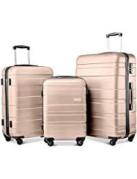 5744f74b3 Merax Set of 3 Light Weight Hardshell 4 wheel Travel Trolley Suitcase  Luggage Set Holdall Case