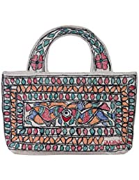 iMithila Madhubani Handpainted Jute Cotton Hand Bag for Women and Girls (Multicolour)