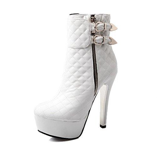 AllhqFashion Damen Reißverschluss Hoher Absatz Weiches Material Niedrig Spitze Stiefel Weiß