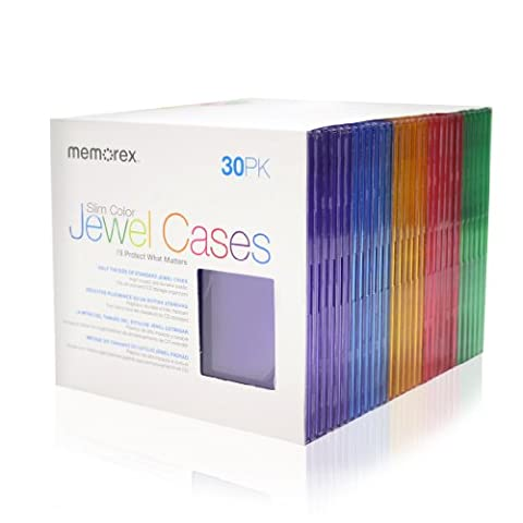 Memorex 30-pack Slim CD Jewel Case (5mm)- Assorted Colors