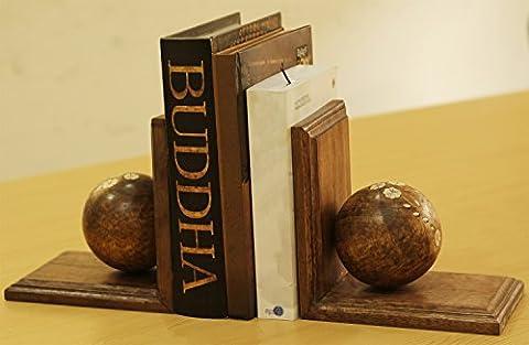 Serre-livres–23,9cm fait à la main Serre-livres–Acrylique incrustation sur boule en bois–Paire livre d'extrémité support/support pour étagère Home & Intérieur de bureau/salle d'étude, enfants, chambre à coucher et salle de séjour