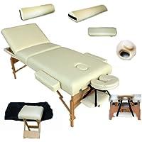 TecTake - Camilla de masaje (base de espuma de 10 cm, con taburete, 2 cojines, reposacabezas de aluminio y funda)