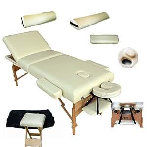 TecTake Massageliege Premium Farbe beige 10cm reine Polsterung +Set4 inkl. 2 Lagerrungsrollen, Hocker & Tasche & Alukopfstütze