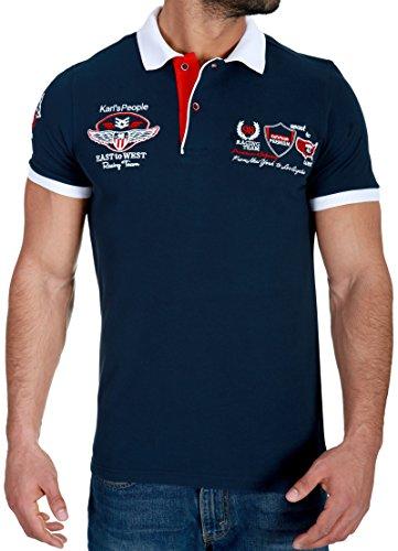 Karl\'s People Herren Poloshirt mit hochwertigen Stick Details Menswear Fahsion T-Shirt Polo 6681, Größe XL, Farbe Navy