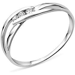 Anillo Miore MA940RO - oro blanco (9k) con 3 diamantes
