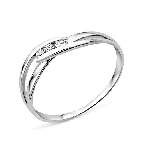 Miore Ring Damen Trilogy  Weißgold 9 Karat / 375 Gold  Diamant Brillianten 0.075 ct (Ring Herren Emerald)