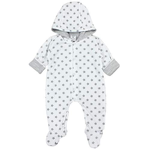 TupTam Unisex Baby Strampler mit Kapuze Overall Gemustert, Farbe: Sternchen Weiß/Grau, Größe: 56