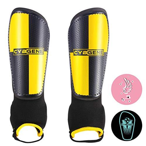 CybGene Schienbeinschoner Fußball für Kinder Herren mit Knöchelschutz Entworfen Schienbeinschützer für Kind Jugend Erwachsene Fußballausrüstung Verstellbare Gurte Gelb S