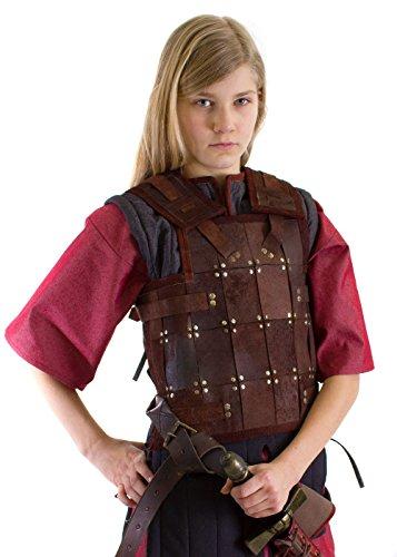 Einfache LARP Kinder Lederrüstung Kinderrüstung Schwarz oder Braun Größe S-XL Mittelalter Schaukampf Wikinger (M, ()