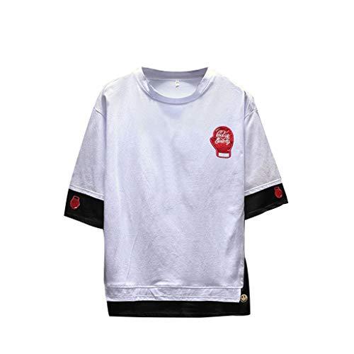Ujunaor t shirt uomo di cotone manica corta girocollo gdupgarly ricamo hip hop fake due pezzi casual 2019 m,l,xl,2xl,3xl,4xl(xxxx-large,bianca)