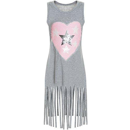 Sommer Mädchen 6 Größe Kleidung (BEZLIT Kinder Mädchen Wendepailletten Long Kleid Sweat Shirt 21270, Farbe:Grau;Größe:140)