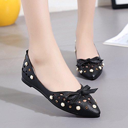 XY&GKFrauen mit flachem Boden Schuh flach Atmungsaktiv Komfortabel flache Schuhe 35 black