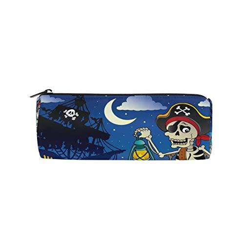 n mit Piraten-Motiv und Segelboot-Motiv, für Schule, Schreibwaren, Stiftebox, Reißverschluss ()