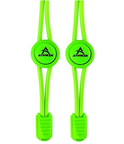 ATHWIN LACES - Schnellschnürsystem - 1 Paar elastische Schnürsenkel mit Schnellverschluss - Perfekter Sitz und einzigartiger Komfort (Grün (Apple Green))