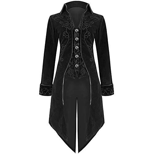 Liyukee Hombre Mujer Chaqueta Tailcoat Velvet Goth Steampunk Aristocrat Regency Chaqueta Tuxedo Escenario Equipos Prince Disfraz (Negro, XL)