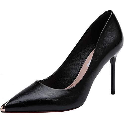 GTTshoes Frauen Tanzschuhe 2019 New Ankle Strap Stiletto Pumps Spitzschuh Kleid High Heel Sommer Hochzeitsschuhe (Color : Black, Size : 39)