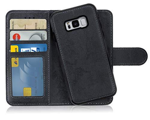 MyGadget Flip Case mit Back Cover [2 in 1] für Samsung Galaxy S8 - Magnetische Hülle in PU Leder Klapphülle - Kartenfach Schutzhülle Wallet - Schwarz (Samsung 2 Case Handy Für)
