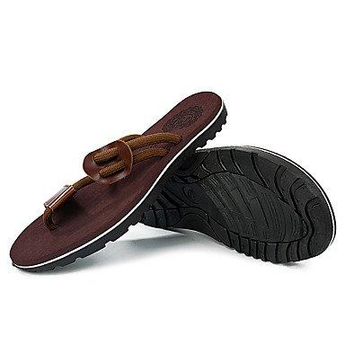 Slippers & amp da uomo;Primavera Estate microfibra esterna casuale piani del tallone sandali rossi marrone scuro sandali US7 / EU39 / UK6 / CN39