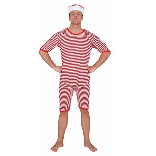 Herren Fashion 1920's Kostüm - Badeanzug rot-weiß gestreift geringelt Gr. L