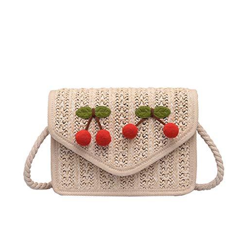 SUGEER Weben Damen Wild Handtasche Mode Neu Umhängetasche Kirsche Umhängetasche Persönlichkeit Freizeit Mode tasche Kleine tasche -