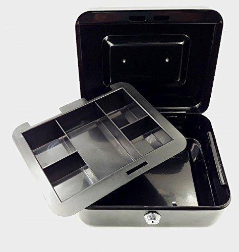 JZK Schwarz premium Geldkassette, 195 x 155mm, kleine Dokumente Sicherheit Kasse Geld Aufbewahrung Box Kassette mit herausnehmbarem Wechselfach und 2 Schlüsseln (Aufbewahrungsbox Für Geld)