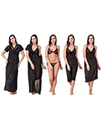 Diljeet® Women Girls Beautiful Satin Nightwear Night Dress Combo Pack of 6   Black Nighty Robe Top Capri Bra Thong (Free Size Large… 3a42682cb