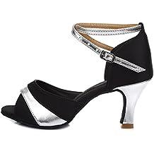 HROYL Mujer Zapatos de Baile Latino Satén Salón de Baile 806
