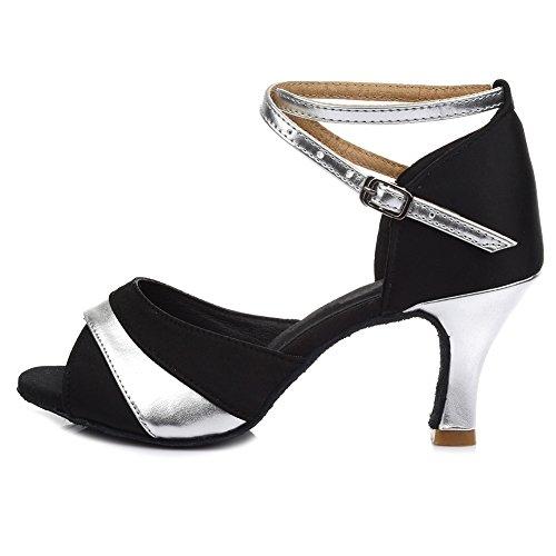HROYL Mujer Zapatos de Baile Latino Satén Salón de Baile 806 Plateado 37 EU