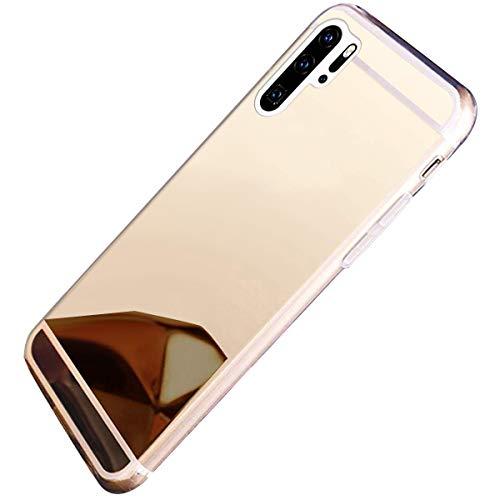Herbests Kompatibel mit Huawei P30 Pro Handyhüllen Spiegel Schutzhülle, Überzug Silikon Handyhülle Tasche Case Glänzend Kristall Spiegel Hülle Mirror Case Durchsichtig Handytasche,Gold