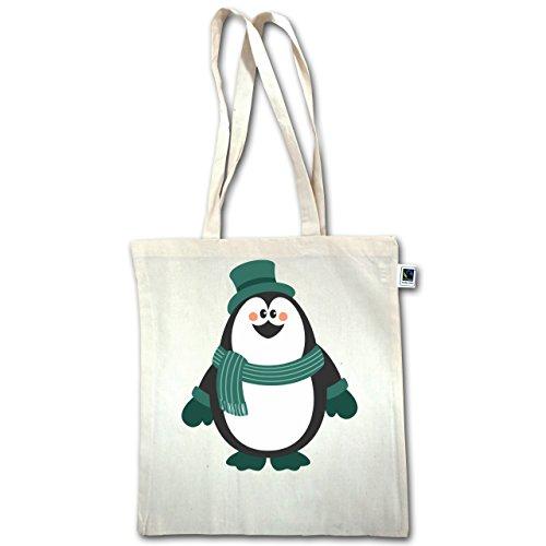 ter - Winter Pinguin Hut Schal - Unisize - Natural - XT600 - Jutebeutel lange Henkel (Weihnachten Hüte Für Erwachsene)