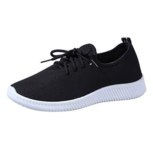 Mukluk Slipper Stiefel (MRULIC Damen Basic Round Toe Breathable Loafers Weiche Freizeit Laufschuhe Bequeme Einfarbige Flache Schuhe zum Schnüren(Schwarz,37 EU))