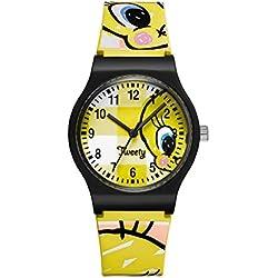 TW-02-Warner Bros Tweety Watch-Analogue Quartz-Yellow Dial Yellow Plastic Strap