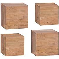 Wohnling wl1,532 Scaffale da parete in legno massiccio di acacia, Set di 4 pezzi da 25 e 20 cm