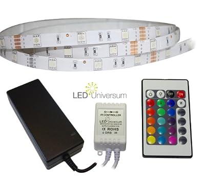 3 Meter RGB LED Streifen Set (30 LED/m, IP65) inkl. Controller, 24 Tasten Fernbedienung und 3 A Netzteil von LED Universum bei Lampenhans.de