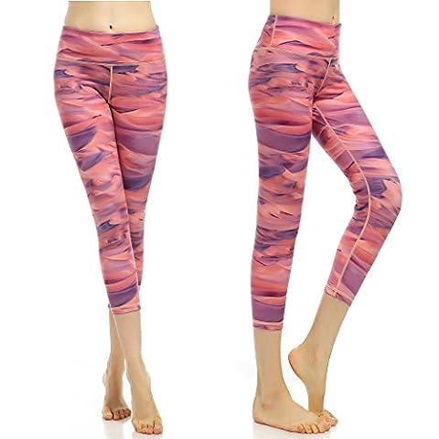 phennie Damen Training Capris Hosen bedruckt Active Yoga Running Leggings Stretch Tights Größe L Flamingos Feather Pink