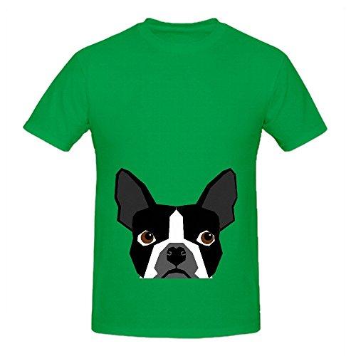 kennedy-boston-terrier-cute-dog-mens-crew-neck-design-shirts-green