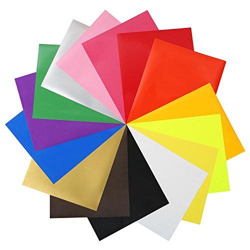 SOLEDI Heat Transfer Vinyl Blätter Wärmeübertragung Vinyl T-Shirt Press Papier 15 verschiedene Farben 30,5 * 25cm (Beste T-shirt Ort,)