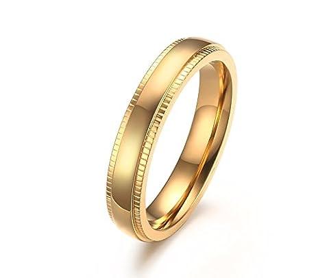 Vnox Men's Women's Stainless Steel Wedding Band Milgrain Edges Domed Classy Ring Gold UK Size V 1/2