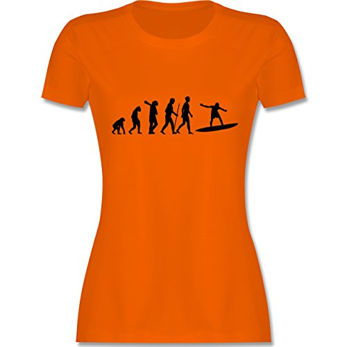 Evolution - Surfer Evolution - tailliertes Premium T-Shirt mit Rundhalsausschnitt für Damen Orange