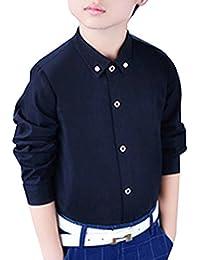 Camisa Manga Larga Para Niños Formal Camisa Chico Fiesta Camisa Negro