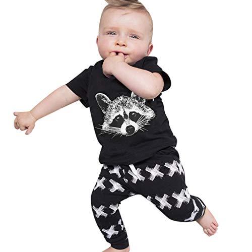 MCYs Kleinkind Kinder Baby Jungen Cartoon Eichhörnchen Print Tops T Shirt Hosen Outfits ()