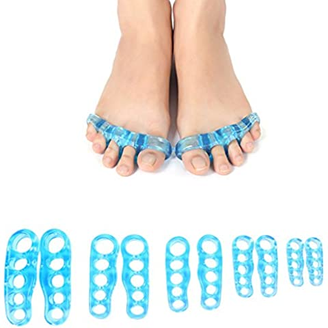 yf-36- Toe Seperating Gel Pedicura Shield Toe Separadores Camillas para Pedicura alineación Bunion pies Cuidado (1par), mujer hombre Infantil, azul, small